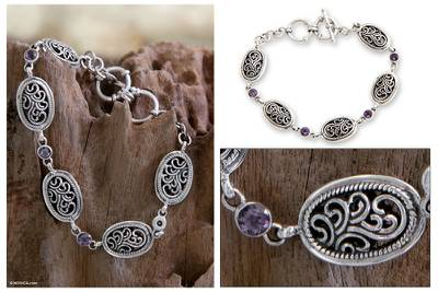 Amethyst link bracelet, 'Balinese Breeze' - Indonesian Amethyst and Sterling Silver Bracelet
