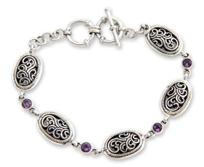 Indonesian Amethyst and Sterling Silver Bracelet
