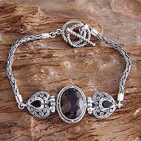 Smoky quartz heart bracelet, 'Love's Commitment' - Heart Shaped Sterling Silver and Smoky Quartz Bracelet