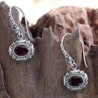 Garnet flower earrings, 'Soul of Jasmine' - Hand Made Floral Silver and Garnet Earrings