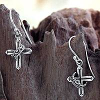 Sterling silver dangle earrings, 'Cross and Crown' - Sterling Silver Religious Earrings