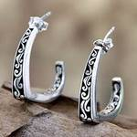 Handcrafted Sterling Silver Half Hoop Earrings, 'Royal Bali'