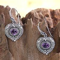 Amethyst heart earrings, 'Love's Miracles'