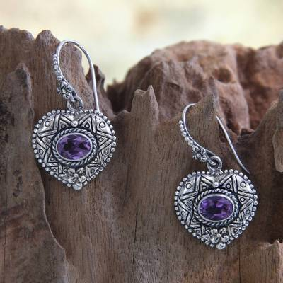 Amethyst heart earrings, 'Love's Miracles' - Silver and Amethyst Heart Earrings