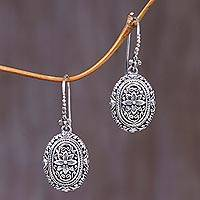 Sterling silver flower earrings, 'Pura Lotus'