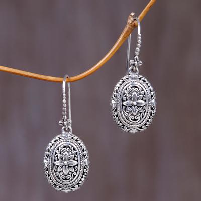 91dfe4d9d Sterling silver flower earrings, 'Pura Lotus' - Indonesian Sterling Silver  Dangle Earrings