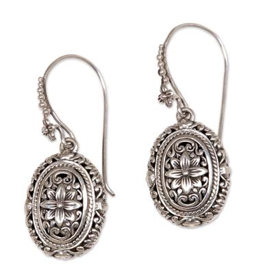 Sterling silver flower earrings, 'Pura Lotus' - Indonesian Sterling Silver Dangle Earrings