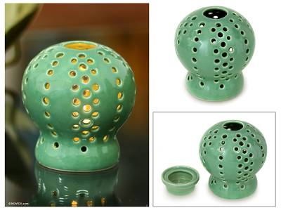 Ceramic candleholder, 'Green Magic Ball' - Ceramic candleholder