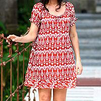 Batik dress, 'Tulip Fantasy' - Handmade Red Batik Patterned Dress