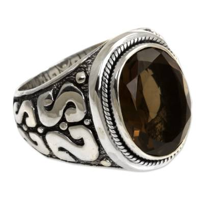 Men's smoky quartz ring, 'Java Shadow' - Men's Unique Sterling Silver and Smoky Quartz Ring
