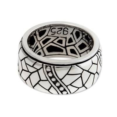 Men's sterling silver ring, 'Java Paths' - Men's Modern Sterling Silver Band Ring