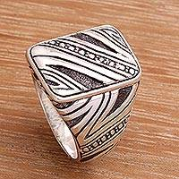 Men's sterling silver ring, 'Energy Path'