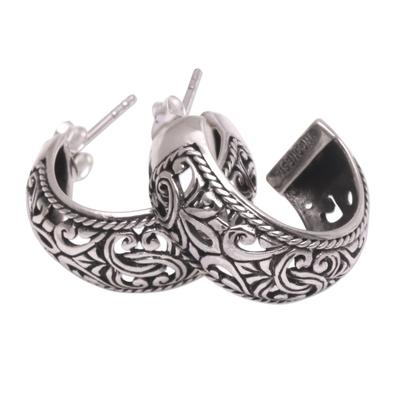 Sterling silver half hoop earrings, 'Hanging Garden' - Sterling Silver Hoop Earrings
