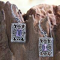 Amethyst dangle earrings, 'Mythic Garden'