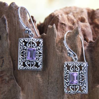 Amethyst dangle earrings, 'Mythic Garden' - Sterling Silver and Amethyst Dangle Earrings