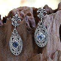 Blue topaz dangle earrings, 'Jungle Kingdom' - Blue Topaz and Sterling Silver Dangle Earrings