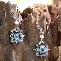 Cultured pearls and blue topaz dangle earrings, 'Celuk Muse' - Blue Topaz and Pearl Silver Dangle Earrings