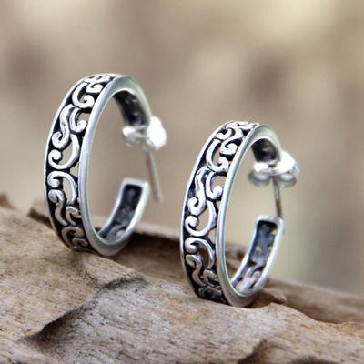 Sterling silver half hoop earrings, 'Bali Flora' - Sterling Silver Half Hoop Earrings