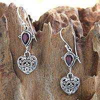 Garnet heart earrings, 'Love's Compassion'