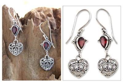 Garnet heart earrings, 'Love's Compassion' - Heart Shaped Sterling Silver and Garnet Earrings