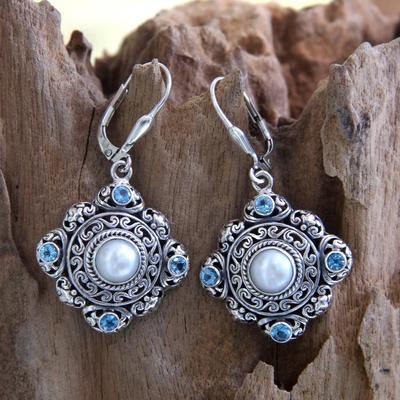 Cultured pearl and blue topaz dangle earrings, 'Mahameru' - Handmade Pearl and Blue Topaz Silver Earrings