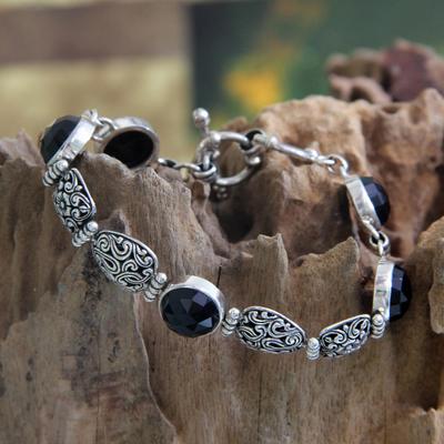 Onyx link bracelet, 'Midnight Jungle' - Onyx link bracelet
