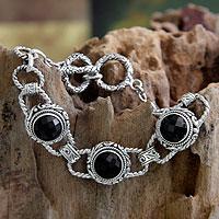 Onyx link bracelet, 'Dark Moon' - Onyx link bracelet