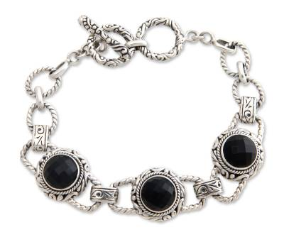Onyx link bracelet
