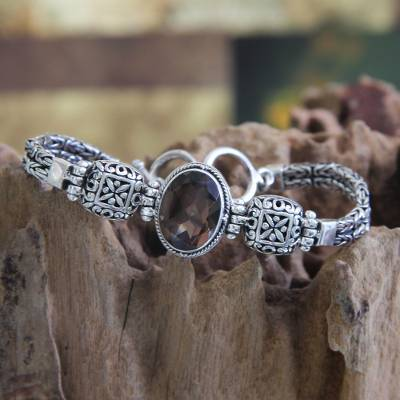 Smoky quartz pendant bracelet, 'Forever' - Smoky quartz pendant bracelet