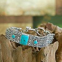 Sterling silver wristband bracelet, 'Sweet Paradise' - Sterling Silver and Reconstituted Turquoise Bracelet