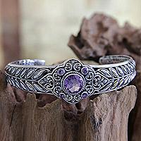 Amethyst cuff bracelet, 'Rice Divine' - Sterling Silver and Amethyst Cuff Bracelet