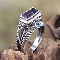 Amethyst and blue topaz cocktail ring, 'Sea Temple' - Amethyst and Sterling Silver Cocktail Ring