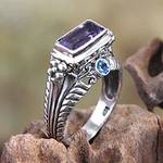 Amethyst and Sterling Silver Cocktail Ring, 'Sea Temple'