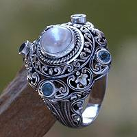 Cultured pearl and blue topaz domed ring, 'Mahameru'