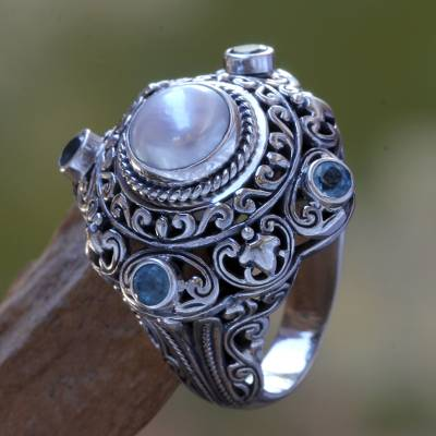 Cultured pearl and blue topaz domed ring, 'Mahameru' - Pearl and Blue Topaz Cocktail RIng
