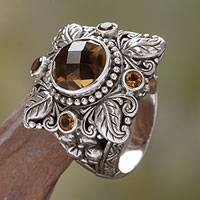 Quartz and citrine cocktail ring, 'Sun Splendor'