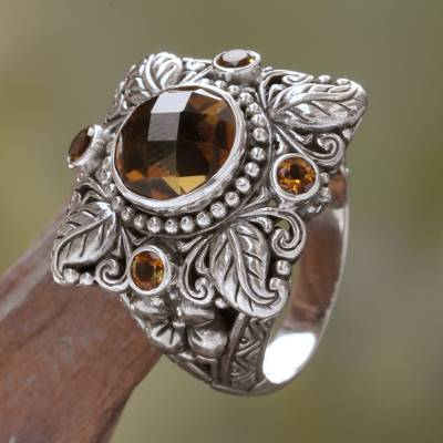 Quartz and citrine cocktail ring, 'Sun Splendor' - Sterling Silver and Smoky Quartz Cocktail Ring