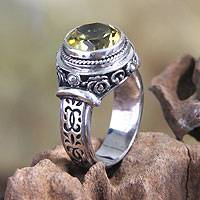 Lemon topaz single stone ring, 'Mystic Moon' - Lemon Topaz and Sterling Silver Ring from Bali
