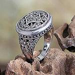 Unique Floral Sterling Silver Cocktail Ring, 'Java Jasmine'