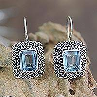 Blue topaz dangle earrings, 'Java Skies' - Unique Indonesian Blue Topaz and Silver Earrings