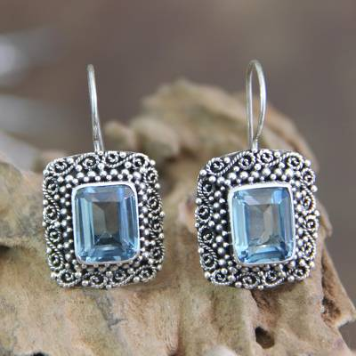 561a3c42d Blue topaz dangle earrings, 'Java Skies' - Unique Indonesian Blue Topaz and  Silver