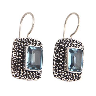 Blue topaz dangle earrings, 'Java Skies' - Unique Indonesian Blue Topaz and Silver Earrings