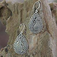 Sterling silver dangle earrings, 'Peacock Arabesque' - Handcrafted Sterling Silver Dangle Earrings