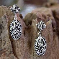Sterling silver earrings, 'Moonlit Dance' - Artisan Crafted Sterling Silver Dangle Earrings