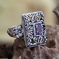Amethyst cocktail ring, 'Mythic Garden' - Sterling Silver and Amethyst Cocktail Ring