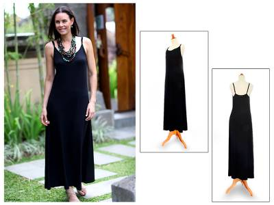 Rayon jersey maxi dress, 'Ubud Chic' - Black Jersey Knit Maxi Dress Sleeveless Relaxed Fit