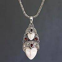 Bone and garnet pendant necklace, 'Royal Heir' - Sterling Silver Bone and Garnet Necklace