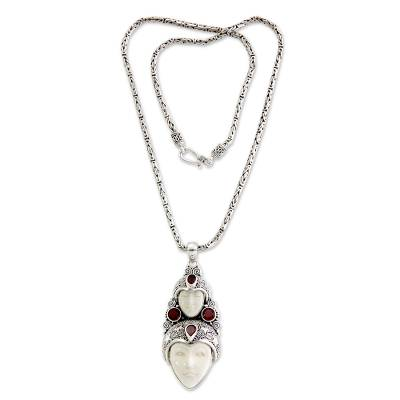 Bone and garnet pendant necklace, 'Royal Heir' - Hand Made Indonesian Silver and Garnet Necklace