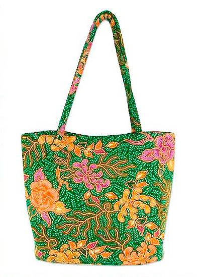 Novica Cotton handle handbag, Floral Lady