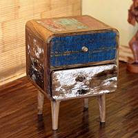 Reclaimed teakwood side table, 'Rusticity' - Reclaimed teakwood side table